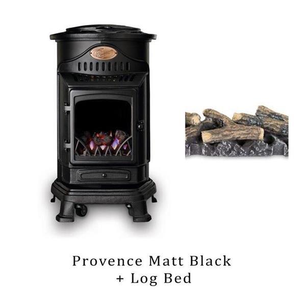 Provence Matt Black Gas Heater & Log Bed Image 1