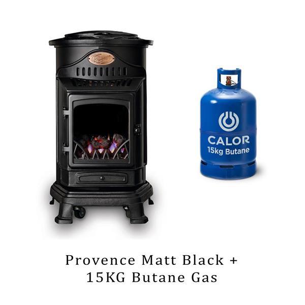 Provence Heater Matt Black & 15kg Butane Cylinder Image 1