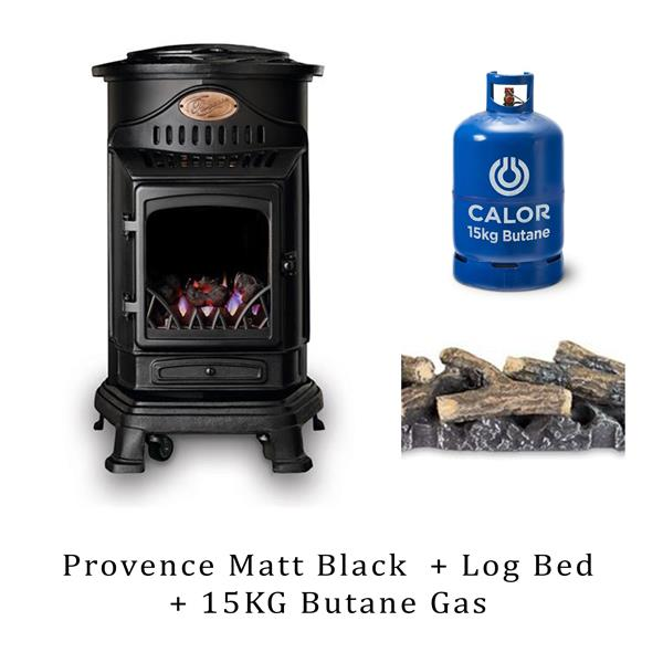 Provence Heater Matt Black, Log Bed & 15kg Butane Cylinder Image 1