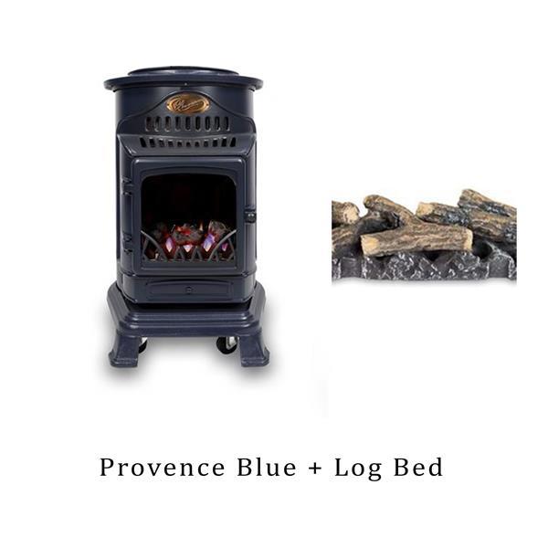 Calor Provence 3.4kW Blue Living Flame Heater & Log Bed Image 1