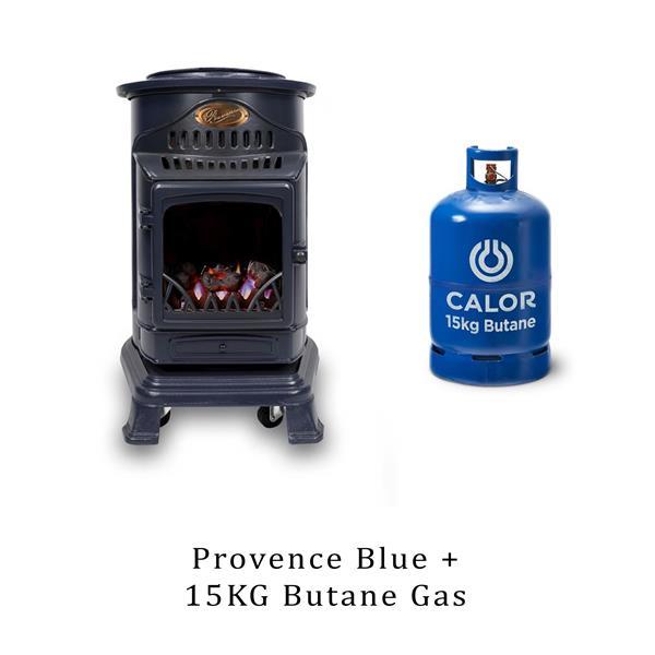 Calor Provence 3.4kW Blue Living Flame Heater & 15kg Butane Cylinder Image 1