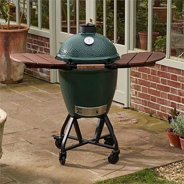 Big Green Egg Large in a Metal Nest with Mahogany Shelves Image 1