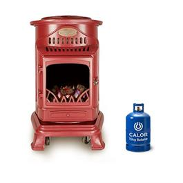 Provence Portable Real Flame Effect Red Gas Heater & Calor 15kg Butane Cylinder Thumbnail Image 2