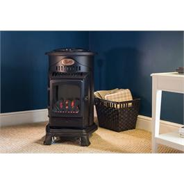 Provence Real Flame Effect 3.4kW Matt Black Gas Heater Thumbnail Image 6