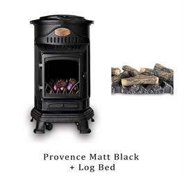 Provence Matt Black Gas Heater & Log Bed thumbnail