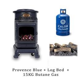 Calor Provence 3.4kW Blue Living Flame Heater, Log Bed & 15kg Butane Cylinder thumbnail