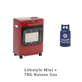Lifestyle Mini Heatforce Red 4.2kw Radiant Portable Gas Heater & 7kg Butane  thumbnail