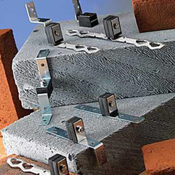 Acoustic brickwork and internal partition wall ties are designed to provide structural stability whilst attenuating noise and vibration between cavity walls.  Features First grade natural rubber to metal bonded rectangular elements inclined to achieve maximum ...