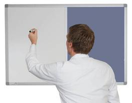 Combination Magnetic Whiteboard with Corded Hessian image