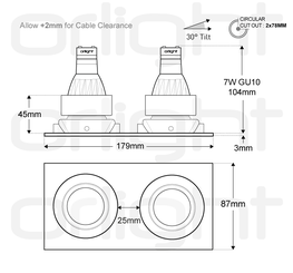 ORL1019-SQ-2 - Twin Square Magnetic Downlight image