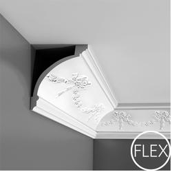 Swag with bow design for this romantic cornice. Exists in Flex. Flex profiles are really versatile and the finish is far superior to anything one could ever achieve with timber. Especially with design being pushed to its limits these days; rounded lines, circl...