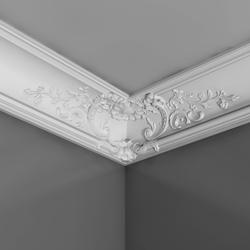 Decorative elegance, graceful arabesques. Ornamented alternative to the big C338 coving, with integrated baroque motive to fit into corners. This model can be used for the corners on the ceiling of grand spaces in combination with the coving C338 and C338A or ...