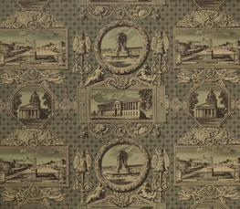 Intricate, highly detailed toile design, originally designed by Hippolytes Le Bas in 1818, it features vignettes of Parisian monuments. Carefully coloured to co-ordinate with fabric Les Vue de Paris 6203. Wide width paper.