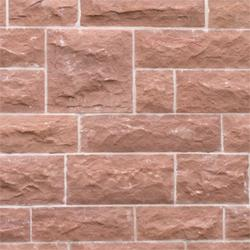 Red St Bees sandstone Split face walling has a lesser-pronounced, flatter texture leaving a raw cropped face on the stone. Due to the intrinsic nature of the sedimentary rocks, it is common for the stone to split with either a convex of concaved face, which ca...