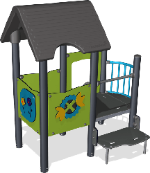 Double playhouse with balcony, steel posts, st.steel slide image