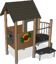 Double playhouse with balcony, wood posts, plastic slide image