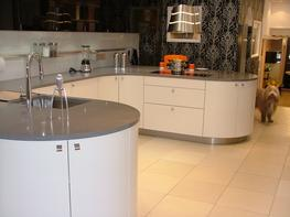 As with the granite we only use full size slabs (1.4mx3m slightly smaller than granite) and can create the same bespoke tops for your kitchen.   We have a large selection of samples in the showroom from numerous manufacturers including Silestone, Compac, Quart...