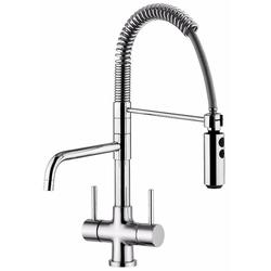 The Coriandoli Professional 3-Way (Tri-Flow) kitchen tap has a detachable shower mixer spout (for hot and cold) and a separate horizontal, revolving spout for filtered drinking water.    The detachable spout will ensure water can reach all the areas a normal ...