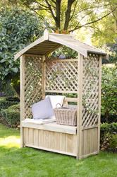 A stylish arbour seat with beautiful lattice side and back panels which are ideal for supporting climbing plants....