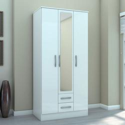 Lynx 3 Door 2 Drawer Wardrobe - White image