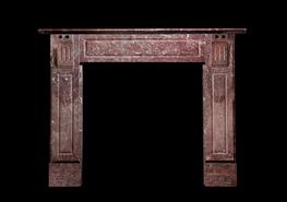 An Edwardian c 1905 St Annes Rouge marble and Welsh slate chimneypiece...