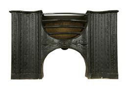 A mid 18th century Georgian cast iron 'hour glass' half hob c.1760...