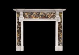 An architectural chimneypiece in Breche and Statuary marble, c.1890...