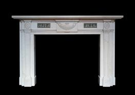 Statuary marble chimneypiece with Wedgwood panel inlay...