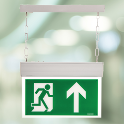 The Forest LED Exit Sign utilises LED technology with the added advantage of a self-test' operation for a low-cost, high power, emergency illumination.  Please note that Forest Fittings are supplied with fixing brackets and a hanging chain as standard....