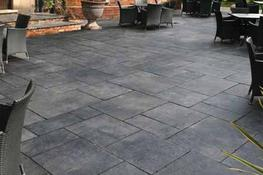 Carbon Black Indian Limestone is a bold and striking colour.  Our Recommendation -– We recommend using a dark pointing colour to help contrast the Carbon Black Limestone with red bricks for the adjacent building....