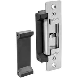 The EL900 ANSI electric door strike is a compact electric strike with long or short faceplates for use in metal and timber applications. An extension lip is also included within the kit. It has a 35mm deep, compact stainless steel body design. This electric strike is further available with or without monitoring and a full fixing kit is also supplied.  The EL900 ANSI electric door strike is available in 12 and 24vDC models both fail safe and fail secure and boasts an innovative change over of function from fail safe to fail secure with the removal of just one small screw.  An additional 'park hole' is provided for safe storage of the screw enabling the function to be changed as required.  Independently tested to 500,000 cycles.  Low current consumption.  Power consumption and current draw 12vDC - 300mA 24vDC - 150mA  Accessories - Long and short ANSI stainless steel faceplates, 25mm extension lips and mounting kit all supplied as standard