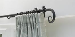Wrought Iron Bay Window Pole with Scroll Finials image