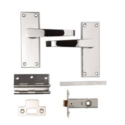 Victorian Flat Latch Lever Pack Polished Chrome Plated image