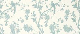 Summer Palace Off White/Duck Egg Floral Curtain Fabric - Laura Ashley