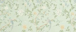 Summer Palace Eau de Nil Floral Cotton/Linen Curtain Fabric image