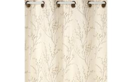 Pussy Willow Off White/Dove Grey Eyelet Ready Made Curtains image