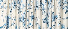 Summer Palace Royal Blue Pencil Pleat Ready Made Curtains image