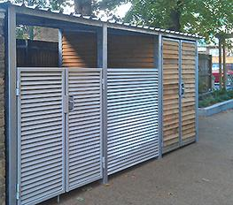 Bin stores are individually designed from a practical system of modular steel louvred panels and doors from the Delta or Italia ranges.  They can be designed with or without roofs.  The robust construction provides visual screening and security, as well as ven...