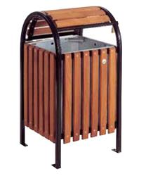 Square hooded swing top timber litter bin image