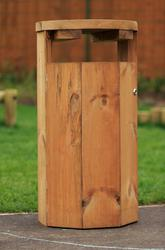 Octagonal closed top timber litter bin image