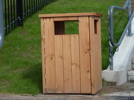 Square Closed Top Timber Litter Bin image