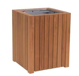 Square open top timber litter bin image