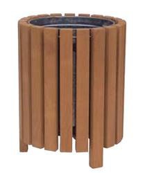 Round open top timber litter bin image