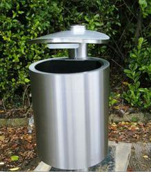 Glide' hooded top stainless steel litter bin. image