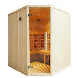 IR2525 Stauna with L Bench and Corner door         4 Bathers   Corner Door   L Shaped Benches   1650 x 1650 x H1950   7 x 300watt Heaters   Mini Steam Generator + Stauna Coat to provide a waterproof barrier to the timber inside the cabin   Simply Plug into ...