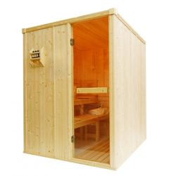 Oceanic Domestic Traditional Stauna Cabin manufactured from top grade kiln dried spruce to the dimensions shown and are supplied with our Oceanic Combined Sauna and Mini Steam Heater with digital controls, rocks and a heater guard, full glass door in its fr...