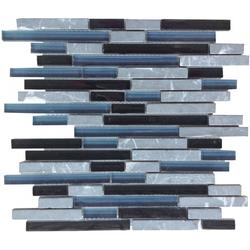 Black Mix Glass & Stone Pencil Mosaic image