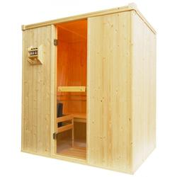 Oceanic domestic sauna cabin manufactured from top grade kiln dried spruce to the dimensions shown and are supplied with our Oceanic Sauna Heater with built in digital controls, rocks and a heater guard, full glass door in its frame, flat packed benches, wo...
