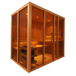 The Vision Sauna range is a premium Sauna, we use high quality Hemlock cladding for the walls and ceiling. We use knott free Obeche timber for the benches, back rests and floor mat.(Obeche is a knott free timber, no branches grow from it so there is a very ...