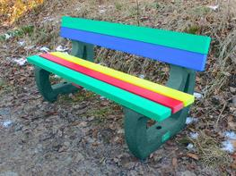Colne Rainbow Bench | Garden Bench | Multicoloured | Recycled Plastic image